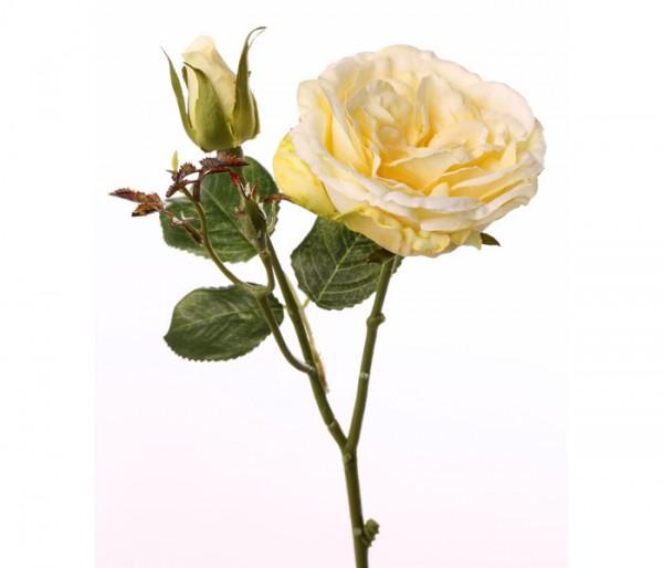 Kunstblume Rose mit gelber Blüte, Länge 38cm