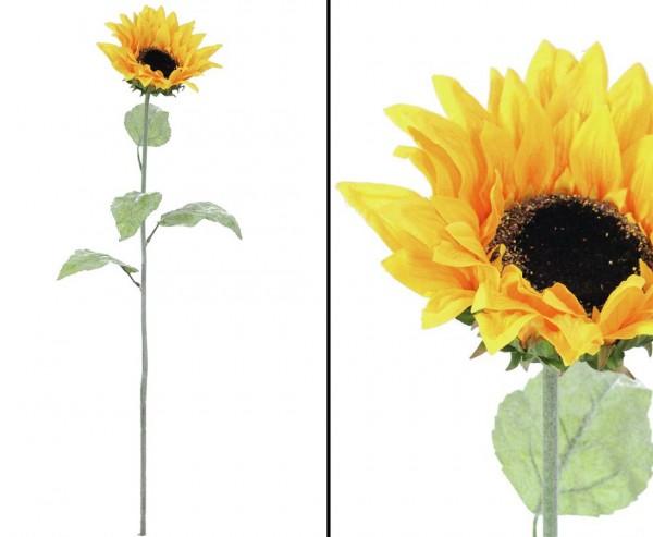 Sonnenblume künstlich mit langen Stiel gelbe Blüte Ø ca. 20cm