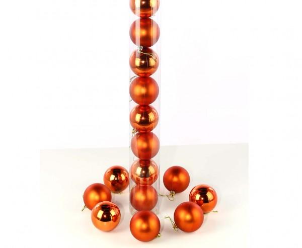 Christbaumkugeln orange farbig mit 6cm als 12er set matt und glänzend