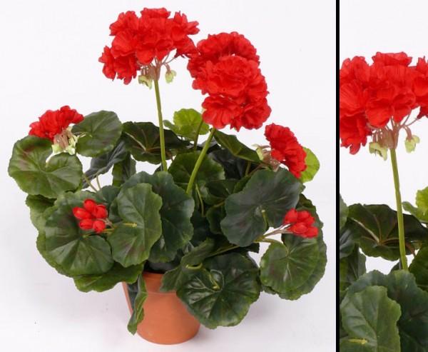 Geranien Kunstblumen rot mit Blätter, Höhe ca. 30cm, ohne Topf