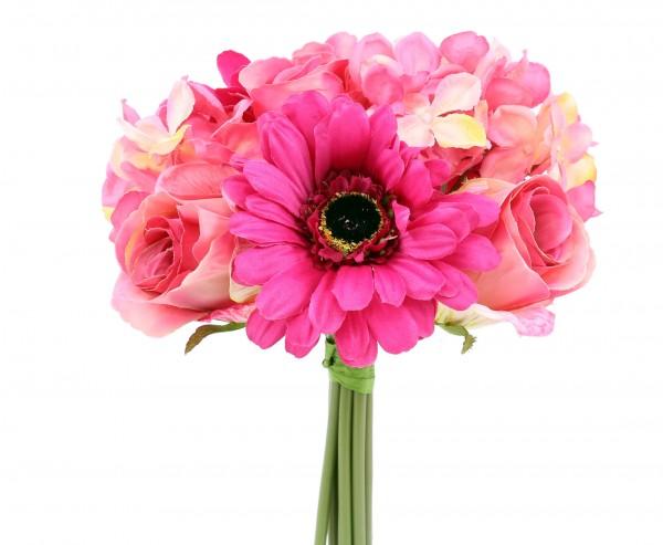 """Mixbouquet """"Mia"""" mit 10 pinken, rosa farbigen Kunstblumen, Øca.20cm"""