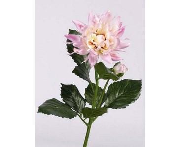 Dahlie Kunstblume mit Blüte und Knospe in rose Länge 75cm