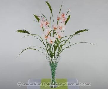 Kunstblumen Set Orchideen rosa, Höhe ca. 90cm
