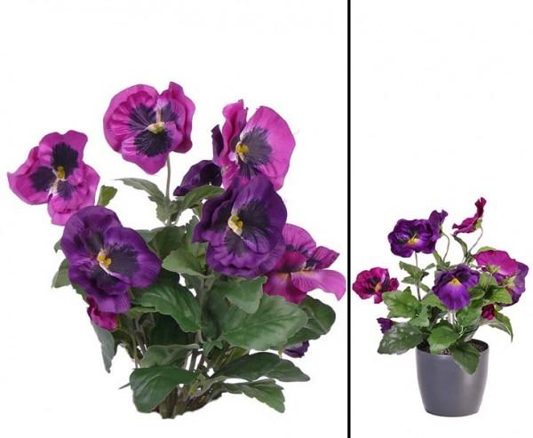 Stiefmütterchen Kunstblumen Busch mit 9 violetten Blüten und Höhe 33cm