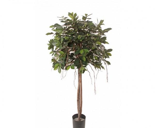 Ficus Kunstbaum 150cm mit 3 Echtstämmen und Textilfaser Blätter