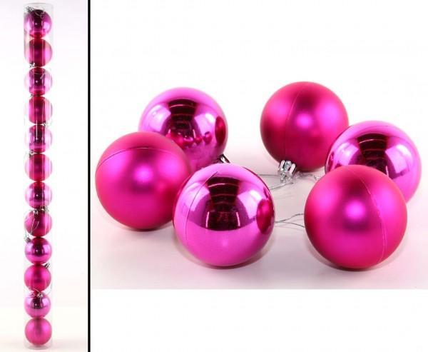 Christbaumkugel 12 Set aus Kunststoff magenta farbig mit 6cm matt und glänzend