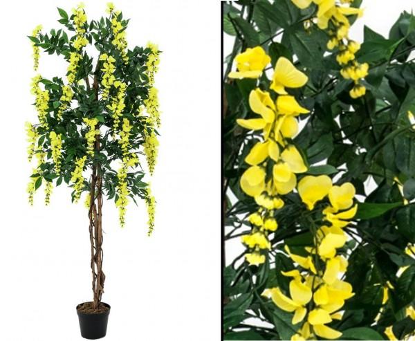 Goldregen Kunstbaum mit gelben Blüten Höhe 150cm mit Zementfuß