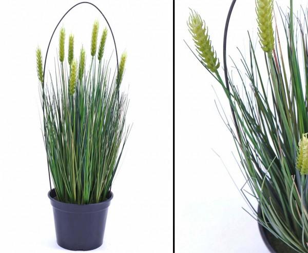 Weizen Kunstpflanze mit 8 Ähren im Topf 60cm