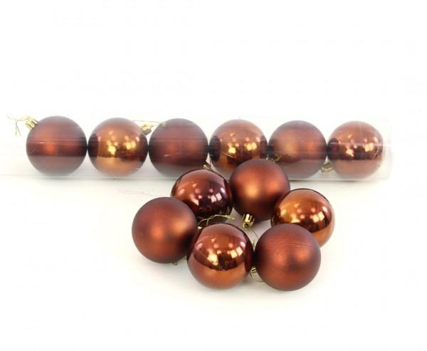 Christbaumkugeln 12er Set Kunststoff braun farbig mit 6cm matt und glänzend sortiert