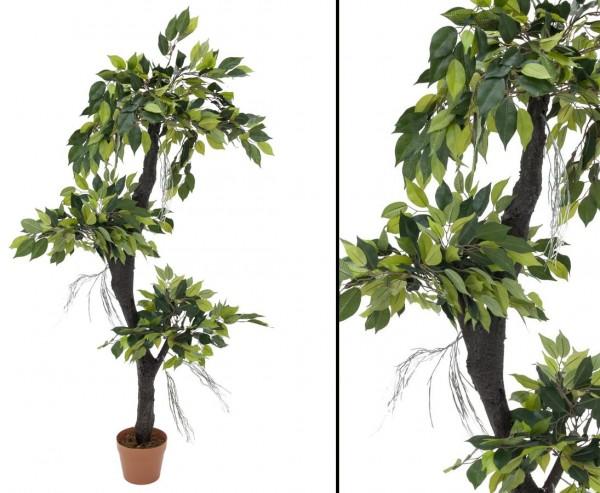 Ficus Waldbaum künstlich mit 954 Blätter im Topf Höhe 150cm