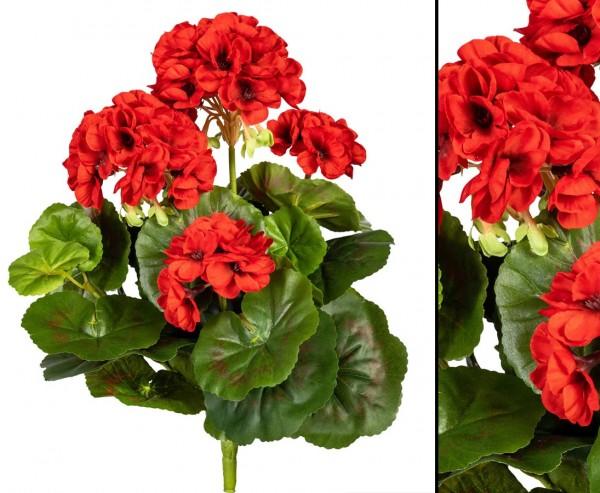 Geranie Kunstblume mit 5 roten Blüten 32cm hoch und 30 Blättern