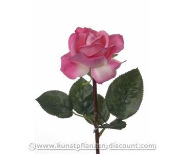 Kunstliche Rose mit real Touch Effekt mit rosa/weißer Blüte, 35cm