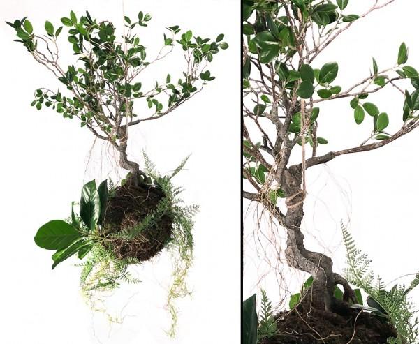 """Hängende Kunstpflanze """"AVATAR"""" mit Wurzel-Moos Ball und Kunstbaum 90cm"""