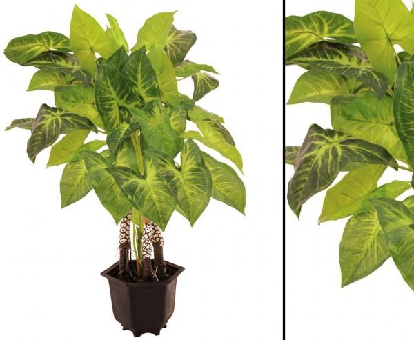 Kunstpflanze Caladium, mit 4 Stämmen und Luftwurzeln, 44 Blätter, Höhe ca. 92cm