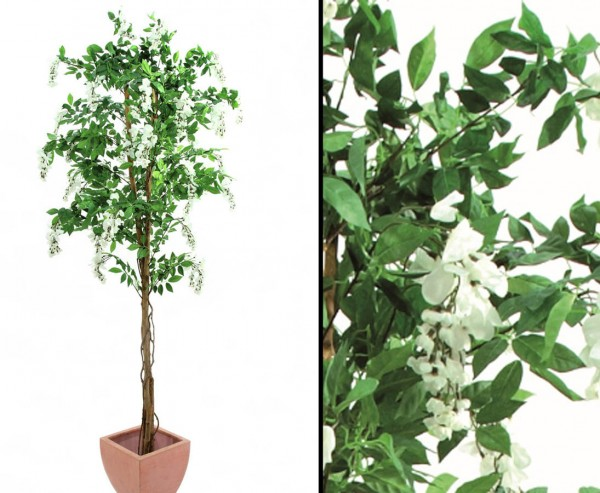 Kunstbaum Goldregen mit weißen Blüten 180cm im Zementtopf