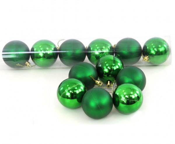 Christbaumkugeln 12er Set Kunststoff in smaragdgrün mit 6cm matt und glänzend sortiert