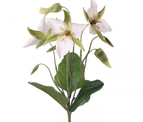 Künstliche Lilie mit 3 weißen Blüten, Länge 40cm