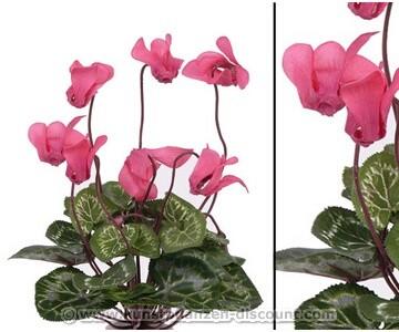Kunstblume Alpenveilchen mit 7 rosa farbigen Blüten, 25cm
