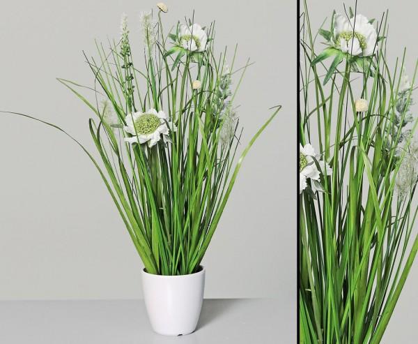 Kunstpflanzen Wiesenblumengras creme-weiß farbig im Topf mit 35cm