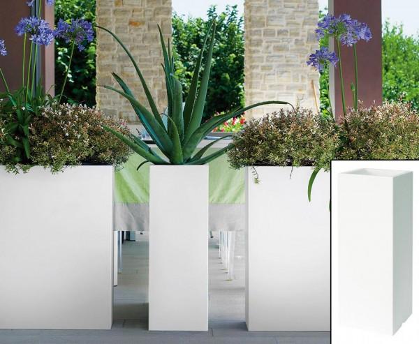 Pflanzkasten Kube weiß schlank und hoch mit 70x25x25cm für den Innen und Außenbereich