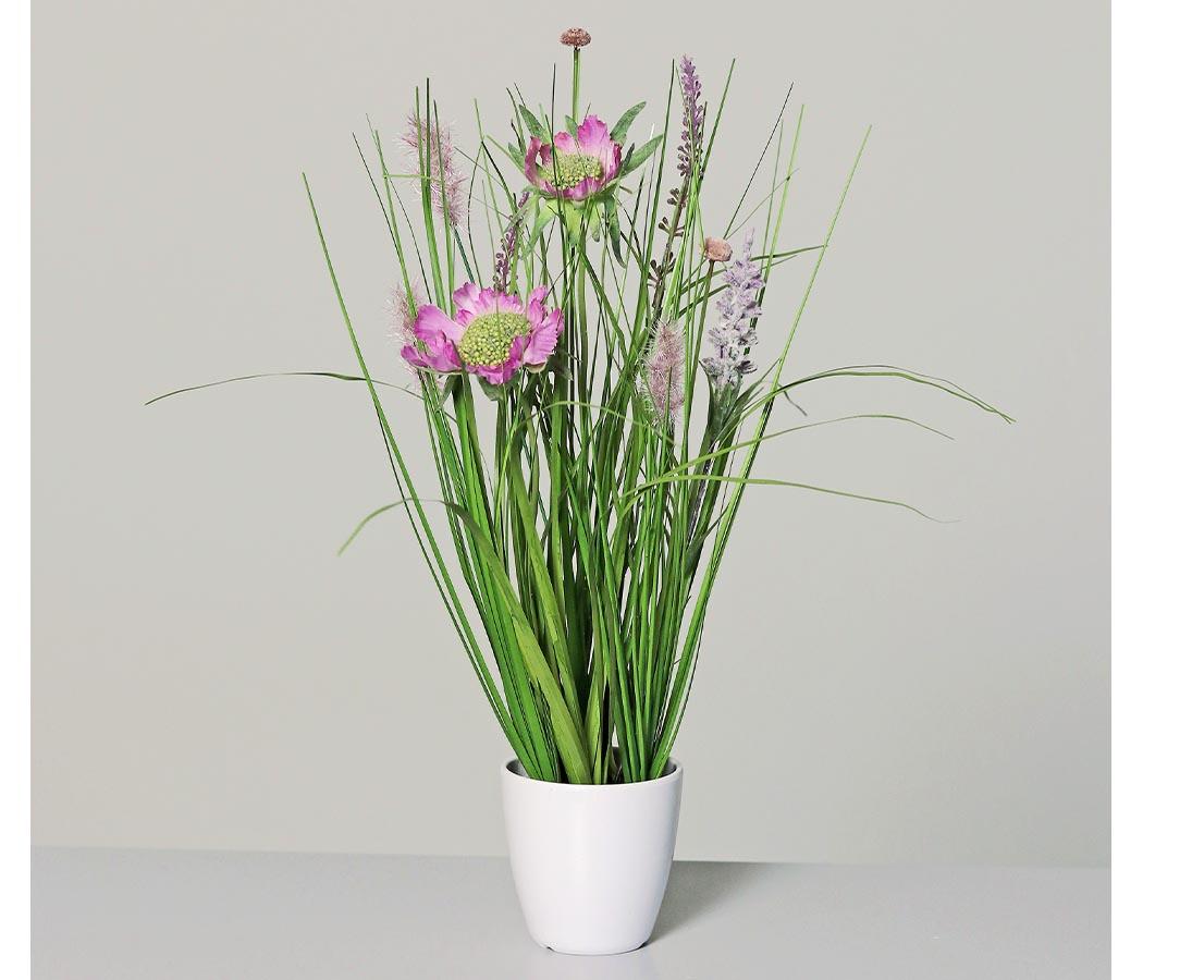 Wiesenblumengras pink 38cm im weißen Dekotopf Kunstblume Kunstgras Kunstpflanzen