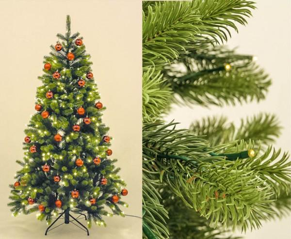 PE Weihnachtsbaum mit Beleuchtung und roten Kugeln 210cm, 1156 Tips mit Spritzguss Nadeln B1