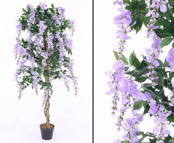 Kunstbaum Goldregen mit violetten Blüten 180cm im Zementtopf