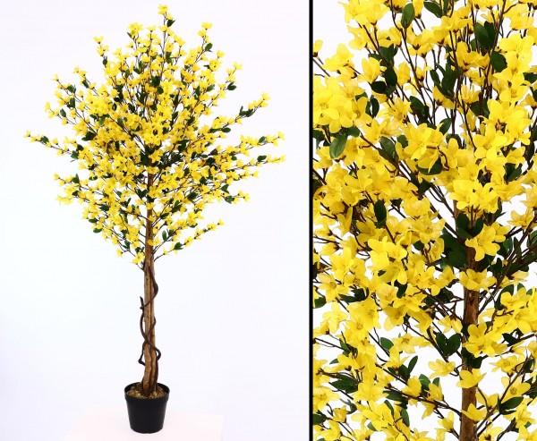 Forsythien Kunstbaum 150cm hoch mit gelben Blüten und Multi Echtholzstamm