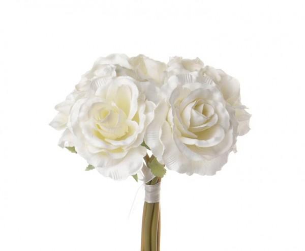 Rosenstrauß, mit 6 Kunstblumen mit creme farbiger Blüte, Länge 20cm
