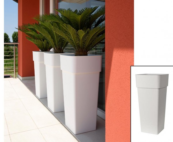Eckige Pflanzsäule 80cm hoch Weiß farbig mit 37x37cm und herausnehmbaren Innentopf