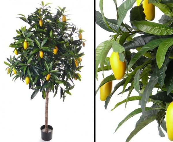 Künstlicher Mangobaum Exotischer Kunstbaum mit Früchten 210cm