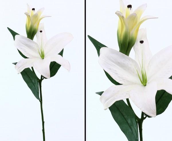 Künstliche Lilie Casablanca 80 cm hoch in weiß