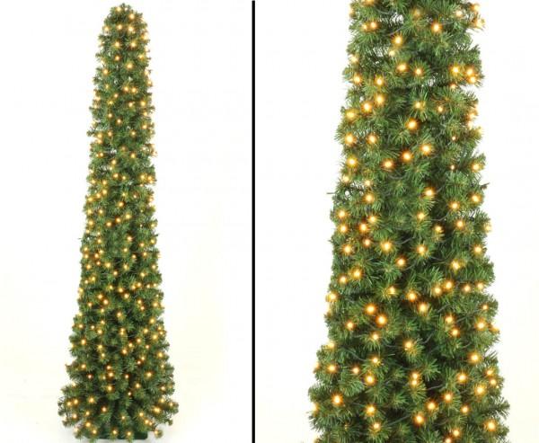 Künstliche Weihnachtsbaum Säule Kasan grün 150cm mit 192 LEDs, schwer entflammbar