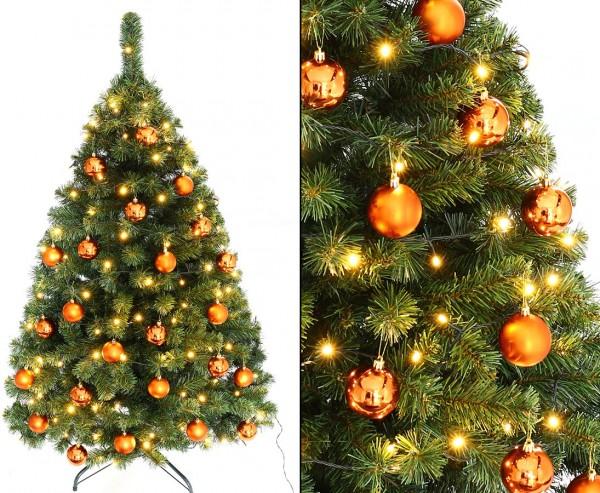 """Christbaum 150cm """"Maria"""" mit 24 orange farbigen Kugeln und Beleuchtung"""