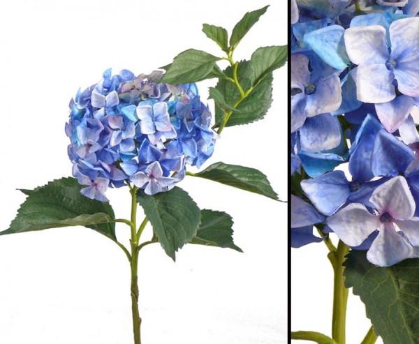 Hortensie Kunstblume mit blau weißer Blütenkrone, 105cm