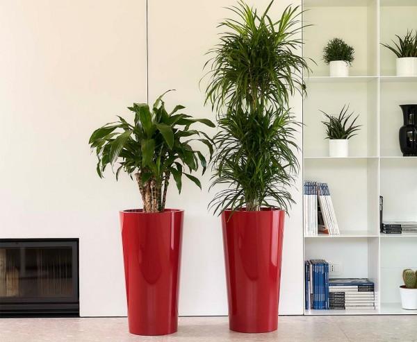 Rot farbiger Pflanzkasten 61cm hoch mit einem Ø33cm und herausnehmbaren Innentopf