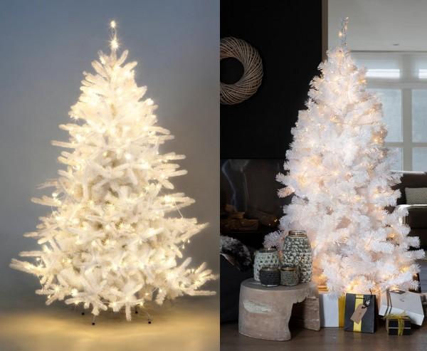 Künstlicher Weihnachtsbaum weiß mit LED Lichterkette, Höhe 150cm