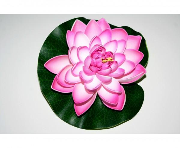 Schwimmende Seerose mit rosa weiß farbiger Blüte aus Schaumstoff