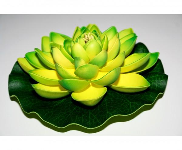 Kunstblume Seerose mit grün gelben Blättern Durch. 17,5cm, Schaumstoff Material