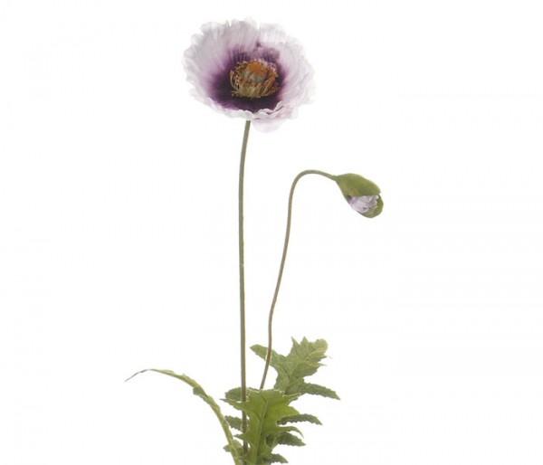 Künstliche Mohnblume mit Blüte weis/violett, Länge 65cm