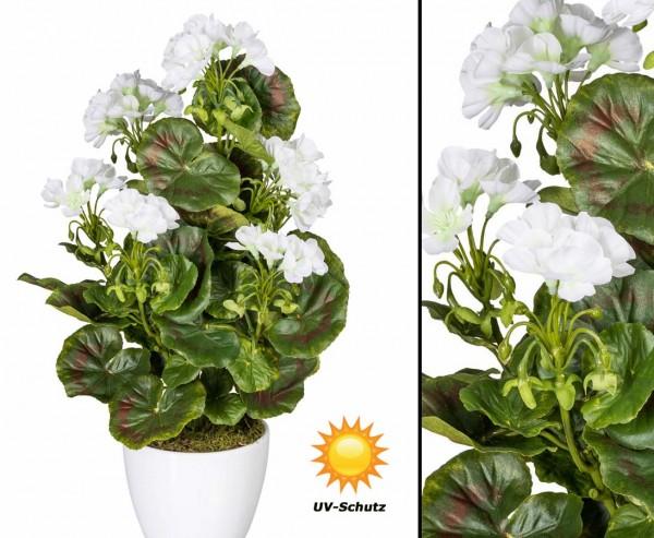 Künstliche Geranien Blume weiß blühend UV-Beständig mit 40cm