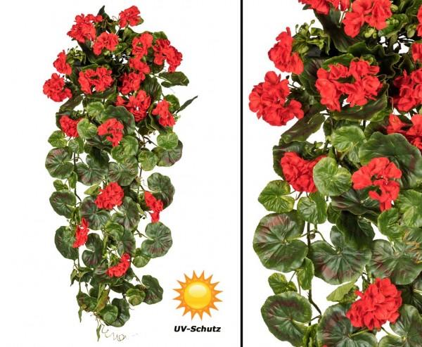Geranienhänger mit 17 roten Kunstblumen 80cm, UV-Beständig