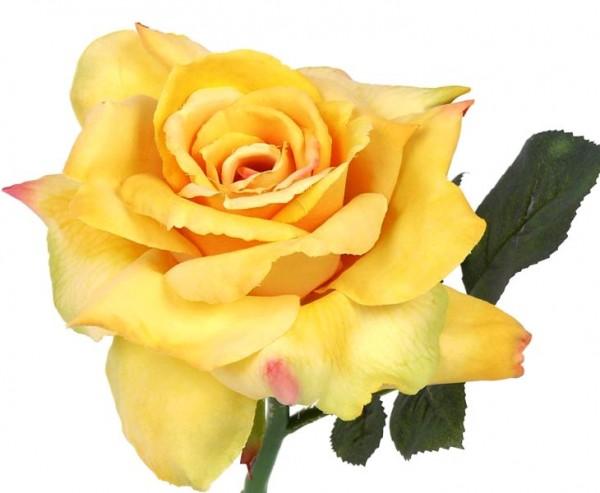 Künstliche Blume, Rose mit gelblicher Blüte, 31cm