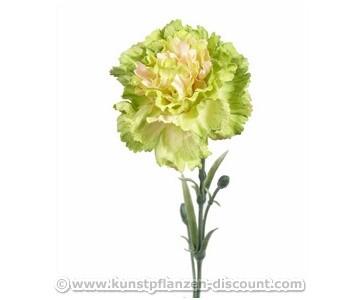 Kunstblume Nelke, gelbe Blüte und grüne Blätter, 60cm