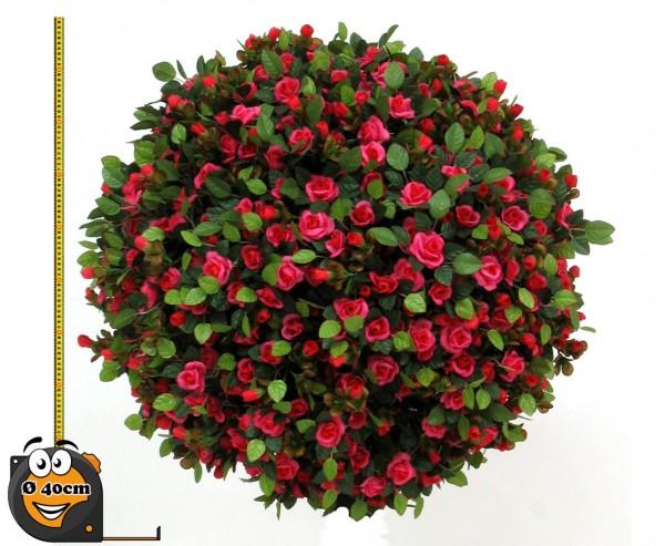 Rosenkugel Kunstpflanze mit kleinen roten Blüten Ø 40cm Kern aus stabiler EPS Masse