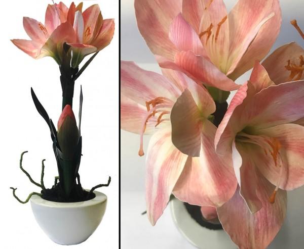 Amaryllis Kunstblume rosa farbige Blüten im Keramiktopf mit 43cm