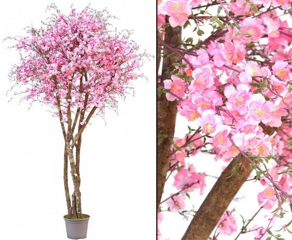 Kunstbaum Pfirsichblüten mit 2124 rosa Blüten Höhe 300cm
