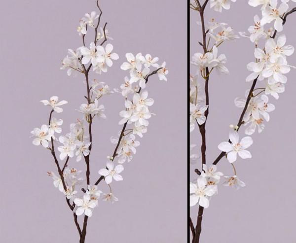 Deko Zweige Apfelblüten, 3 Äste mit creme farbigen Blüten 84cm