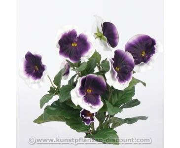 Künstlicher Stiefmütterchen Busch mit 7 weiß lila farbigen Blüten, 33cm