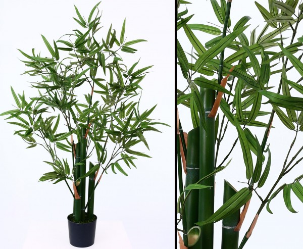 Künstlicher Bambus Hawaii 120cm hoch mit echten Bambusrohr Stämmen